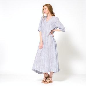 Linen V-Neck Kaftan Dress, Midnight Blue Stripe