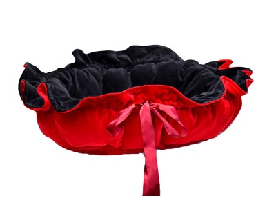 Mariska Hand Made Blood Red & Black Velvet Pet Bed