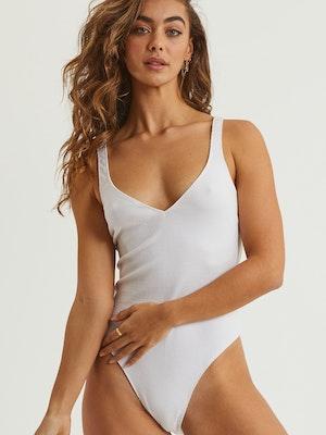 Elle Ribbed Knit Bodysuit - White