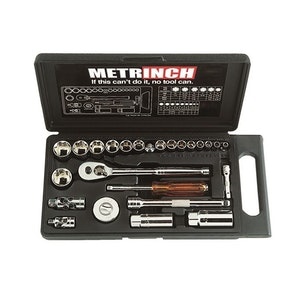 "Metrinch 1/4"" & 3/8"" Drive 25pc Socket Set = 53pc Conventional Set SAE Metric"