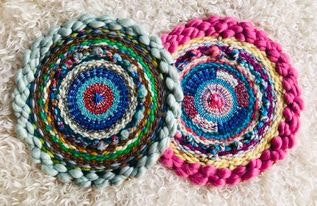 Pink Pop and Into the the Blue Tabby Circular Weaving Kits