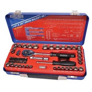 "T820199 Socket Set 1/4"" + 3/8"" Dr 55 Piece METRIC/SAE T820199"