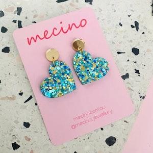 Ella - Sparkly Aqua / Gold Acrylic Earrings
