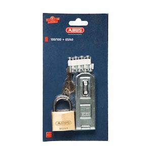 ABUS 100/100 Hasp, Staple and 65/40 Padlock Combo Pack