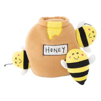 Zippy Paws Zippy Burrow Honey Pot Plush Dog Squeaker Toy 17 x 17 x 12cm