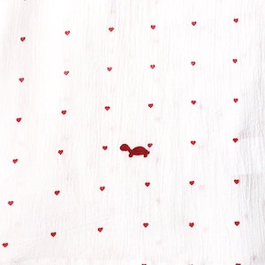 Baby Wrap - Stretch Cotton Muslin: WHITE WITH SMALL HEARTS