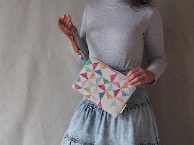 Linen clutch bag - Multi print
