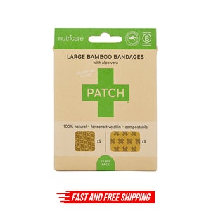 PATCH Aloe Vera Bamboo Bandages - Large Square and Rectangles - 10 pack