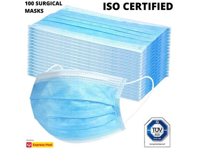 Boutique Medical 100x Disposable SURGICAL MASKS Face Guard Dust Mouth 3 Ply Air Purifying