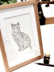 A4 Framed Original Botanical Ink Drawing 'Best Friend'