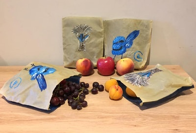 Dream Forest Studio Blue Wren and Emu 4 pack beeswax bags