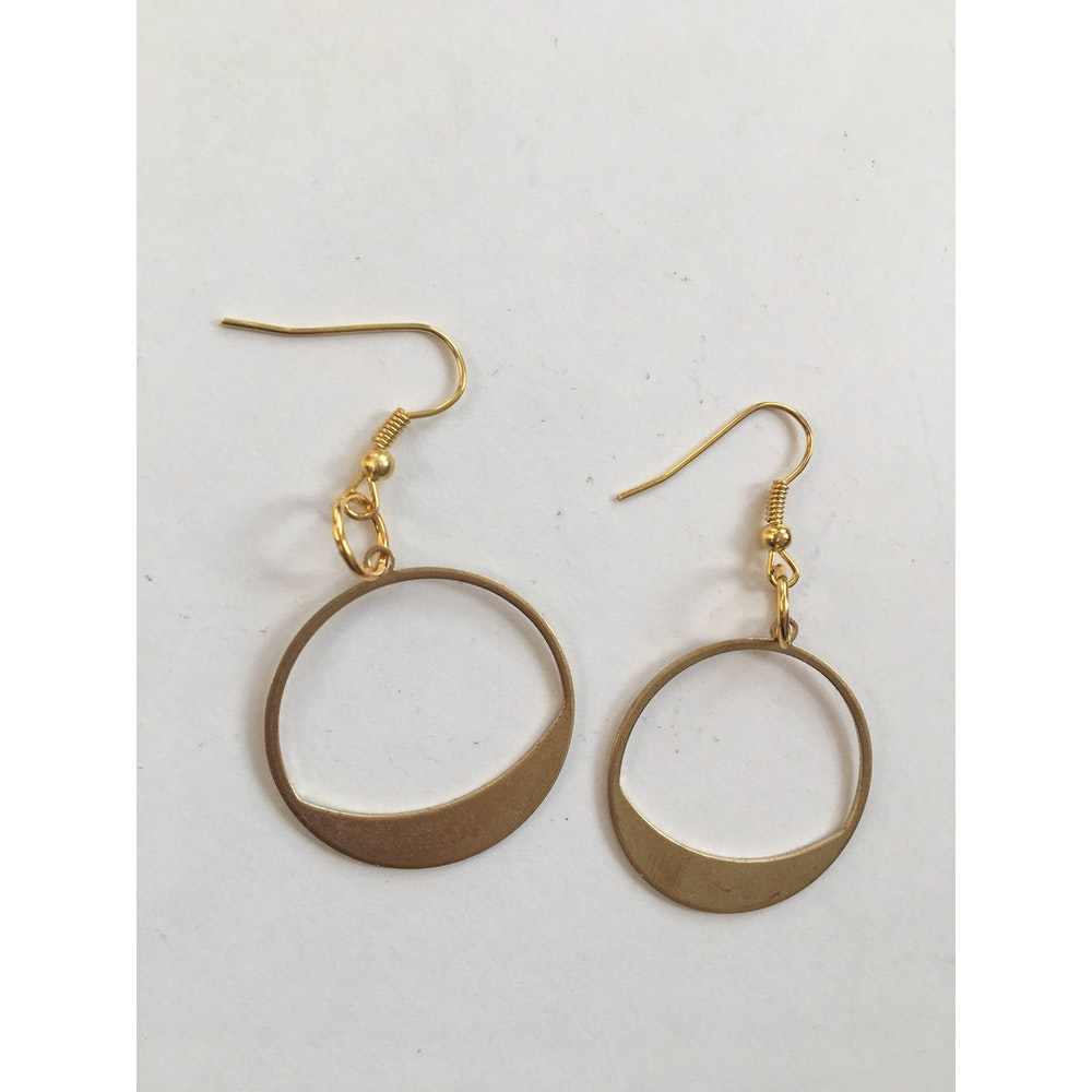One of a Kind Club Brass Circle Earrings