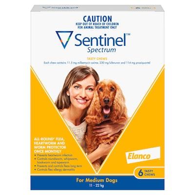 Sentinel Spectrum Tasty Chews Flea & Worming Treatment 11-22kg Dog