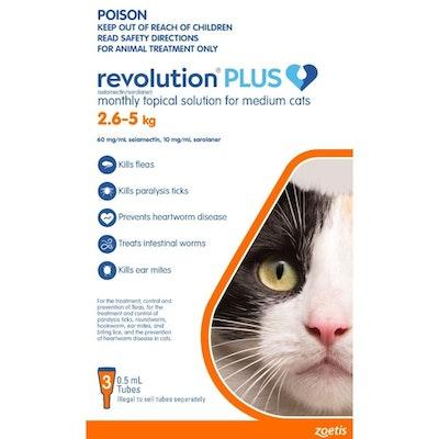 REVOLUTION PLUS Spot On Treatment for Medium Cats 2.5-5kg Orange - 2 Sizes