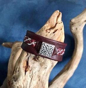 Unisex Bordeaux leather Celtic cuff.
