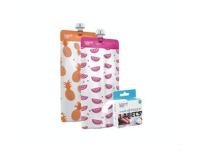Food Pouch 180mL Maxi's 10pk & Pouch Label Bundle - Neon Melon & Hot Pineapple