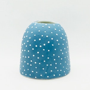 Ceramic Bud Vase - Dotty - #1 - Mid Blue