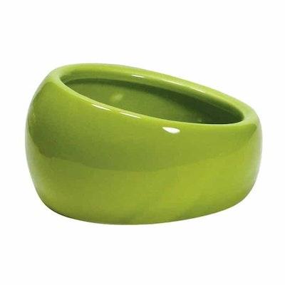 Living World Ceramic Ergonomic Pet Dish  Green 420ml