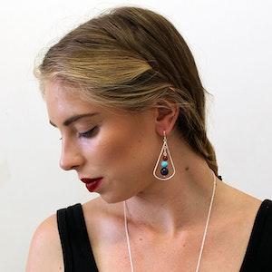 Blue Lotus Long Drop Earrings