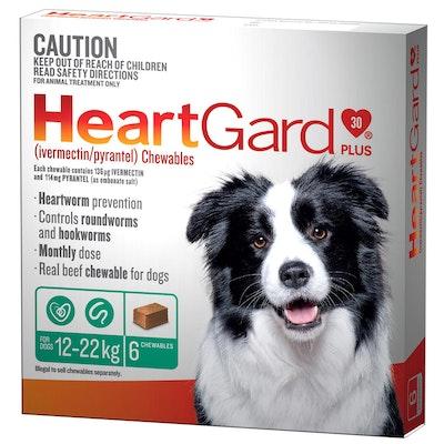 Heartgard Plus 12-22kg Dogs Wormer Treatment & Control Green 6 Chews