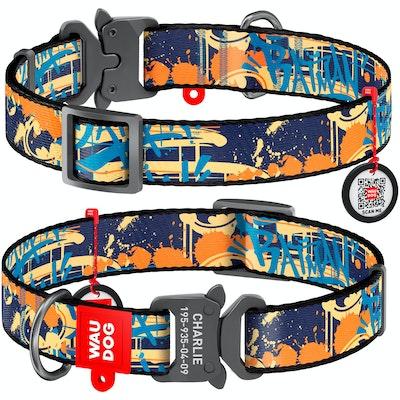 WauDog by the Collar Company WauDog Nylon Dog Collar -Batman Jeans - Sizes: X-Small, Small, Medium, Large