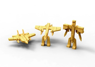 Kaper Kidz WOODEN TRANSFORMER-FIGHTER JET