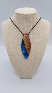 Yindi Artz Blue swirl and yellow box wood pendant