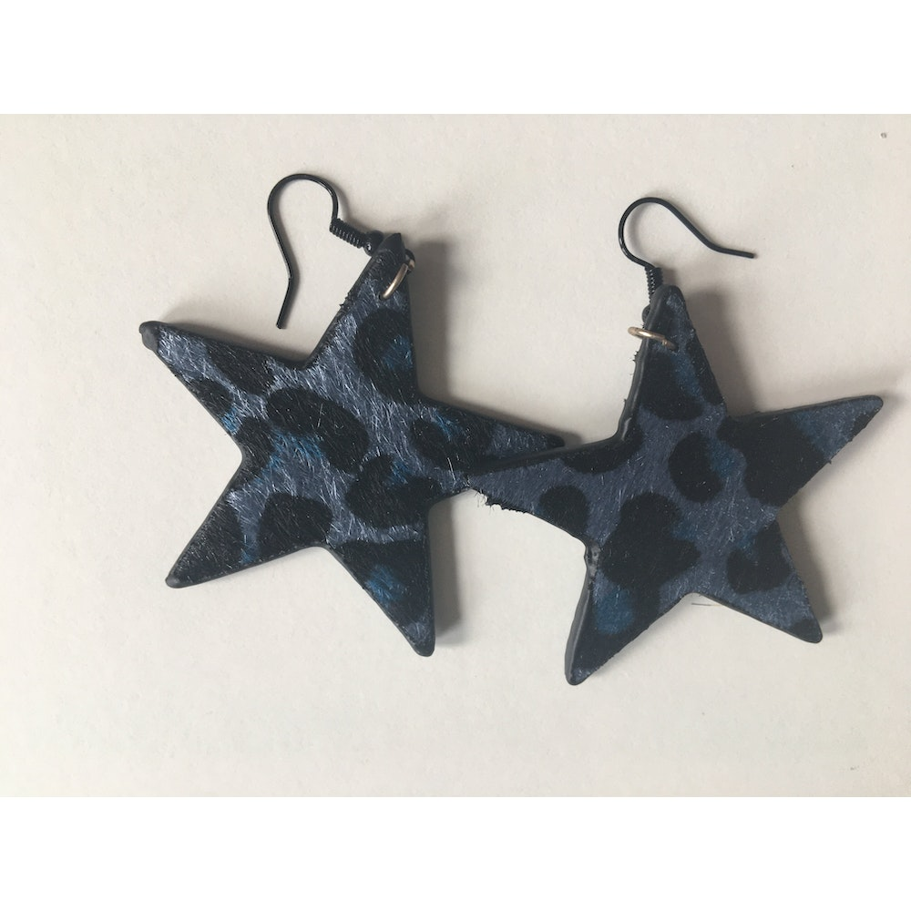 One of a Kind Club Blue And Black Animal Print Star Earrings