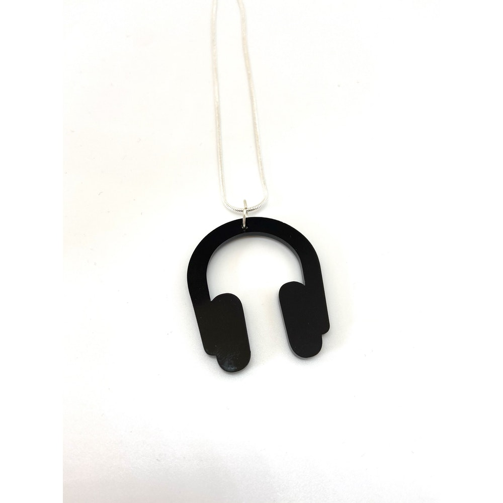 One of a Kind Club Black Headphones Necklace