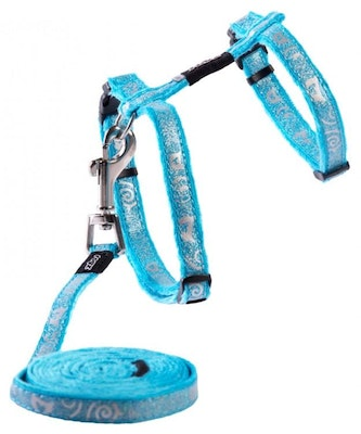 Rogz Harness And Lead Sparklecat Turquoise