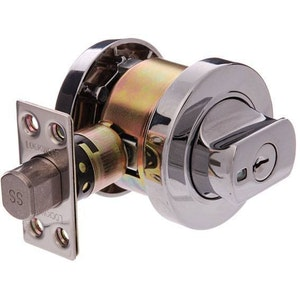 Lockwood Paradigm 005 indicating double cylinder deadbolt in chrome plate finish