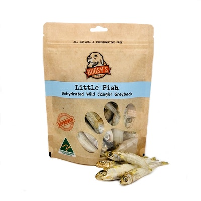 Bugsy's Pet Supplies HEALTHY SNACKS | Dehydrated Australian Greyback Whole Little Fish