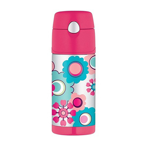 Drink Bottle Thermos Stainless Steel Kids Flower Funtainer Camping Travel Car Girls would love to pack this adorable container that has fluttering butterflies in magical colours. Its interior is made from unbreakable stainless steel. Fitted with Thermax double wall insulation, it is built for maximum temperature retention, to keep hot things hot and cold things cold.  No need to worry about spills and messes, as it comes with an extra wide mouth and is easy to clean.  Buy one of these unique Thermos Stainless Steel Kids Flower Funtainers and bring a whole new twist to regular containers. It spells fun all the way and it is available in both Thermos Food Jar in Brisbane and drink bottle versions.