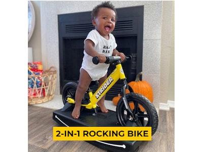 "Strider 12"" Sport Balance Bike & Rocking Base - Yellow"