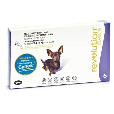 Revolution Purple Flea & Worming Treatment With Canex Intestinal Wormer 2.6-5kg Dog 6 Pack