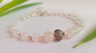 Uniqu-Lea Yours Chinese White Jade and Hill Tribe Silver Bracelet