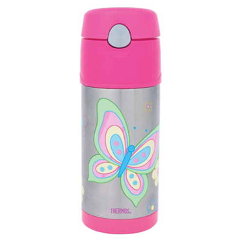 Thermos Stainless Steel Kids Butterfly Funtainers Water Drinking Drink Bottle If you've got a little social butterfly in the family, send them off for the day with these adorable funtainers. Choose the drinks bottle or food jar and fill with their favourite things, and they'll stay warm for 7 hours or cold for 5. A great alternative to boring lunchboxes. Girls would love to pack this adorable container that has fluttering butterflies in magical colours. Its interior is made from unbreakable stainless steel. Fitted with Thermax double wall insulation, it is built for maximum temperature retention, to keep hot things hot and cold things cold. No need to worry about spills and messes, as it comes with an extra wide mouth and is easy to clean. Buy one of these unique Thermos Stainless Steel Kids Butterfly Funtainers, Thermos Funtainer Bottle and bring a whole new twist to regular containers. It spells fun all the way and it is available in both food jar and drink bottle versions.