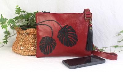 Mirabelle Leather Bag - Red & Black Monstera