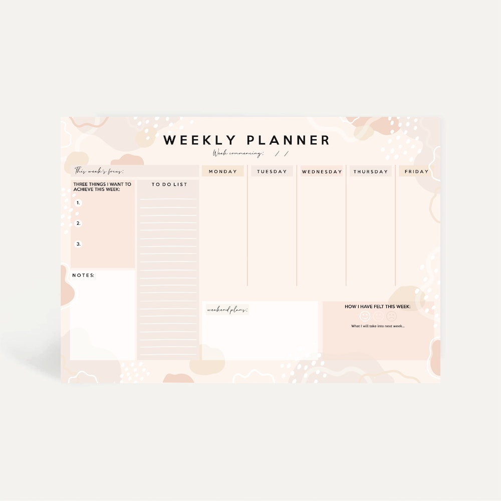 Brew Norfolk A4 Weekly Planner Pad With Minimal Design