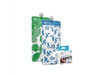 Food Pouch 180mL Maxi's 10pk & Pouch Label Bundle - Toucan Blue & Rainforest Green