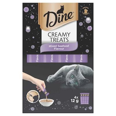 Dine Creamy Treats Mixed Seafood Flavour Cat Treats 4x12G