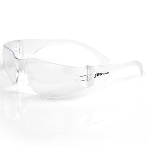 JB's Saver Spec wrap around medium impact safety eyewear - Clear Anti Fog