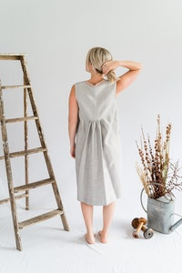 Orchard Dress - Linen in Oyster/Blush
