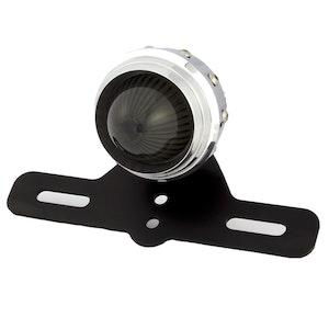 Alloy Retro Studded Tail Light with Smoked Lens - Polished Aluminium