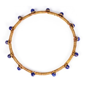 Global Sisters Shop Wire Dot Bangle - Blue