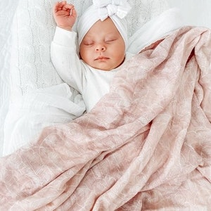 Anchor & Arrow Organic Bamboo Cotton Swaddle - Pink Palm