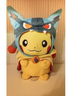 Pokemon Center Japan Pikachu Mega Lucario Poncho Plush