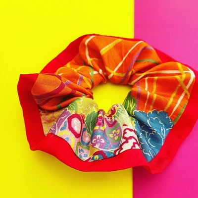 Tomi Art Kimono pattern Japanese Scrunchies, hair accessory, hair tie, hair fashion handmade 2021