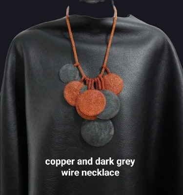 PAMdesigned NEW Copper and Dark Grey Wire Necklace -Victoria 2021