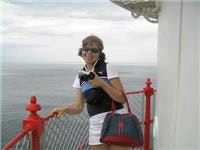 Lisa gets high on the Cape Otway Lighthouse